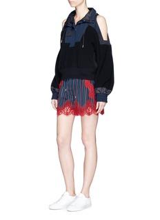 SacaiLace trim stripe cupro drawstring shorts
