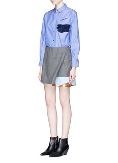 TOGA ARCHIVES Layered contrast hem check plaid wool skirt