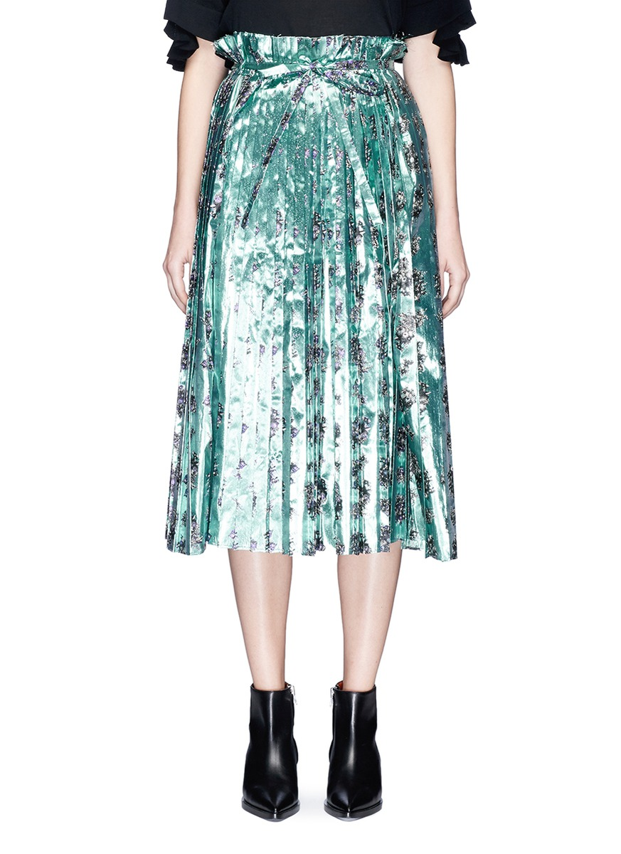 Floral print lamé paperbag waist pleated skirt by TOGA ARCHIVES