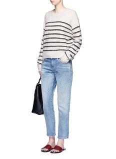 Vince Stripe textured wool blend knit sweater