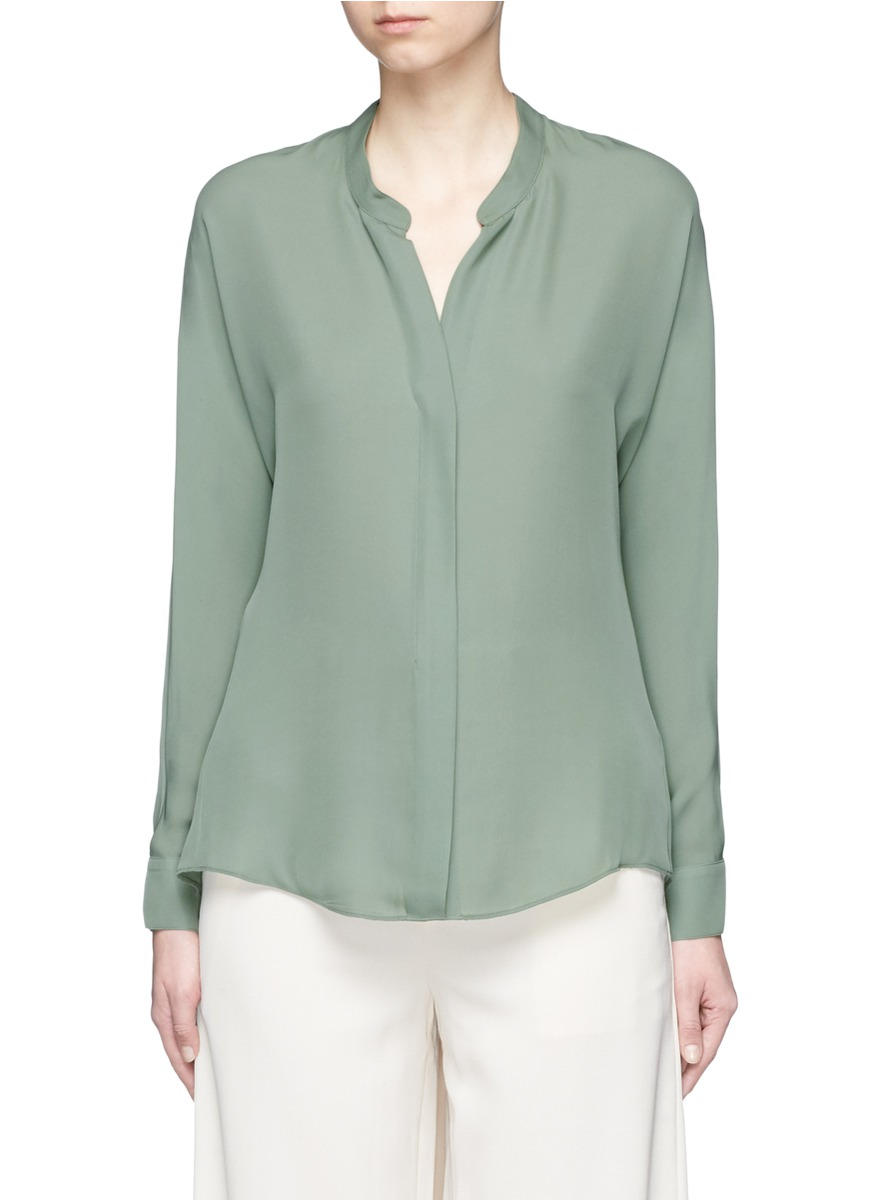 Mock button placket silk blouse by Vince