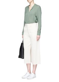 VinceMock button placket silk blouse