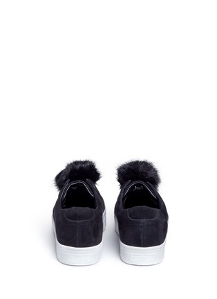 Back View - Click To Enlarge - Sam Edelman - 'Leya' faux fur pompom suede slip-on sneakers