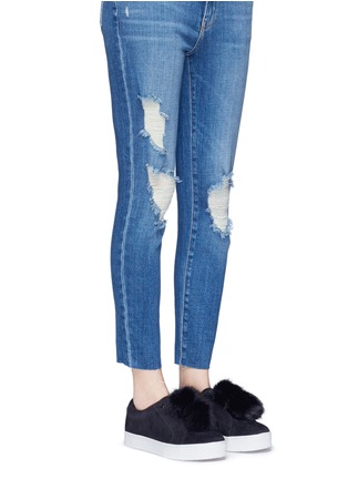 Figure View - Click To Enlarge - Sam Edelman - 'Leya' faux fur pompom suede slip-on sneakers
