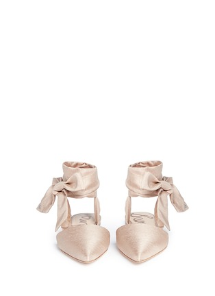 Front View - Click To Enlarge - Sam Edelman - 'Brandie' ankle tie satin flats