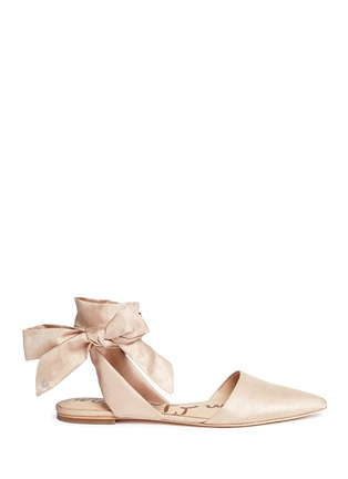 Main View - Click To Enlarge - Sam Edelman - 'Brandie' ankle tie satin flats