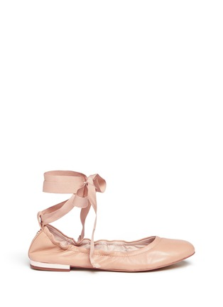 Main View - Click To Enlarge - Sam Edelman - 'Fallon' ankle tie leather ballet flats