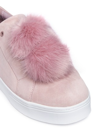Detail View - Click To Enlarge - Sam Edelman - 'Leya' faux fur pompom suede slip-on sneakers