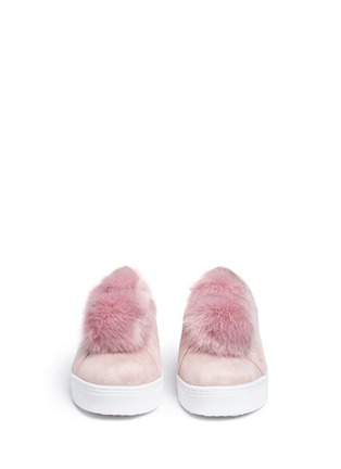 Front View - Click To Enlarge - Sam Edelman - 'Leya' faux fur pompom suede slip-on sneakers