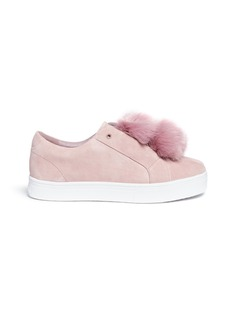SAM EDELMAN Leya Faux Fur Pompom Suede Slip on Sneakers