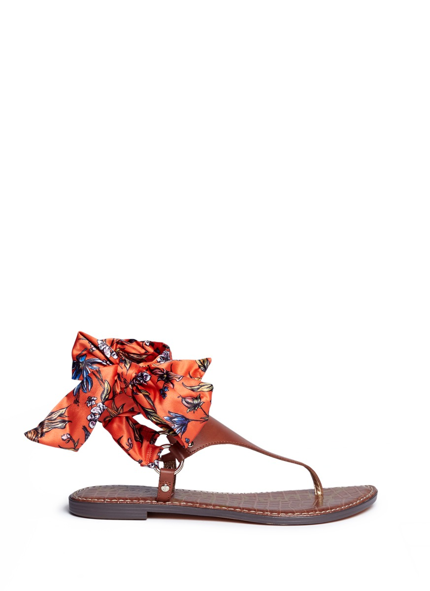 Giliana floral print satin tie leather thong sandals by Sam Edelman