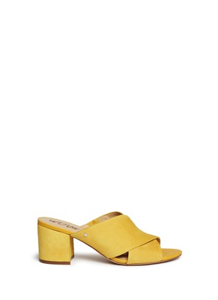 Main View - Click To Enlarge - Sam Edelman - 'Stanley' cross vamp suede mules