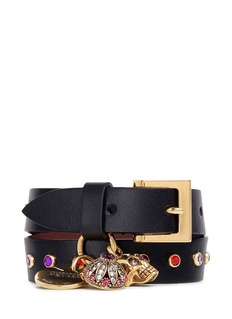 Alexander McQueen Mixed charm double wrap leather bracelet