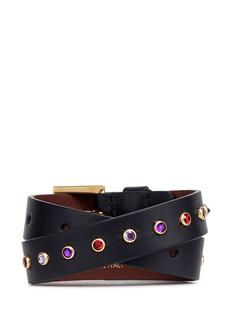 Alexander McQueenMixed charm double wrap leather bracelet