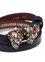 King and Queen skull double wrap leather bracelet