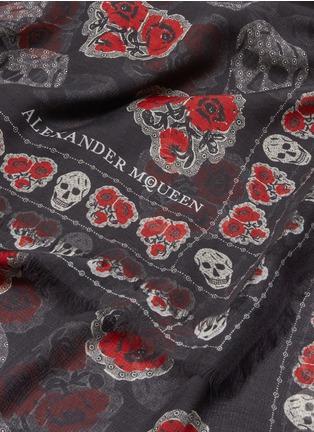 Detail View - Click To Enlarge - Alexander McQueen - Poppy skull silk-modal scarf