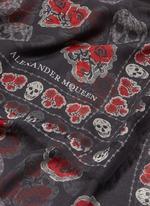 Poppy skull print silk-modal scarf