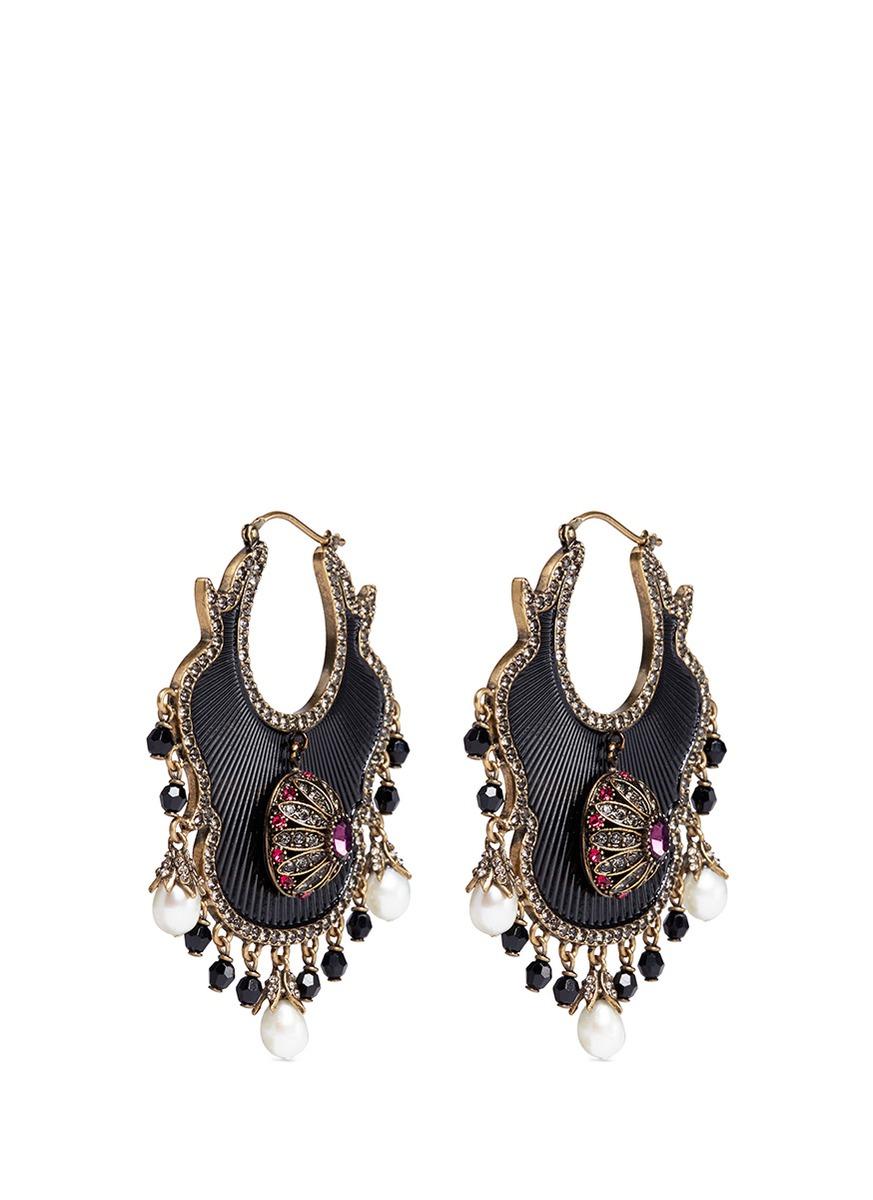 Swarovski crystal Baroque pearl fan earrings by Alexander McQueen