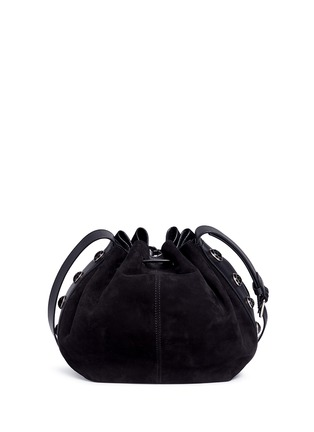 Detail View - Click To Enlarge - Alexander McQueen - Floral button suede drawstring bucket bag