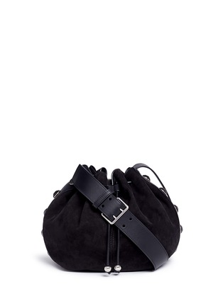 Main View - Click To Enlarge - Alexander McQueen - Floral button suede drawstring bucket bag