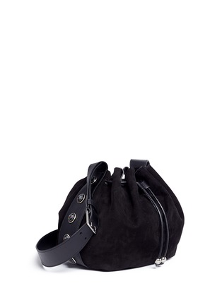 Figure View - Click To Enlarge - Alexander McQueen - Floral button suede drawstring bucket bag