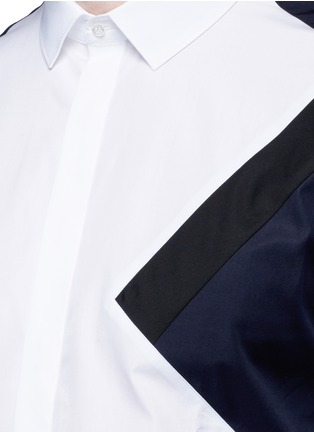 Detail View - Click To Enlarge - Neil Barrett - 'Retro Modernist' colourblock cotton poplin shirt