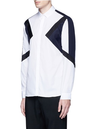 Front View - Click To Enlarge - Neil Barrett - 'Retro Modernist' colourblock cotton poplin shirt