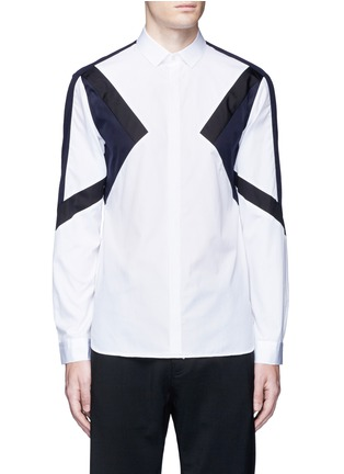 Main View - Click To Enlarge - Neil Barrett - 'Retro Modernist' colourblock cotton poplin shirt