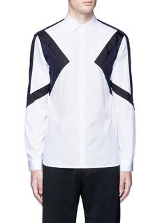 Neil Barrett'Retro Modernist' colourblock cotton poplin shirt