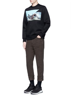 Neil BarrettSkinny fit cropped roll cuff cotton pants