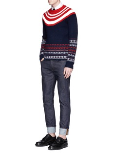 Neil Barrett Fair isle chunky rib knit sweater