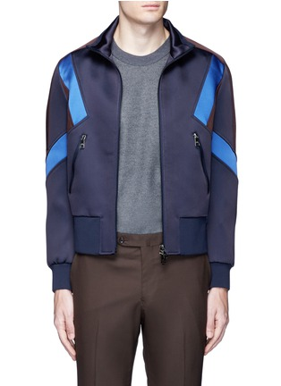 Main View - Click To Enlarge - Neil Barrett - 'Retro Modernist' colourblock blouson satin jacket