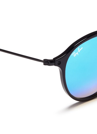 Detail View - Click To Enlarge - Ray-Ban - 'Round Fleck Flash' acetate mirror sunglasses