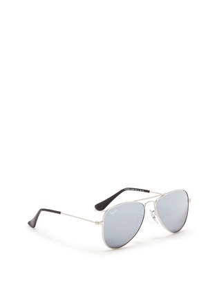 Figure View - Click To Enlarge - Ray-Ban - 'Aviator Junior' metal mirror sunglasses