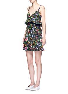VICTORIA, VICTORIA BECKHAMFloral print peplum waist faille dress