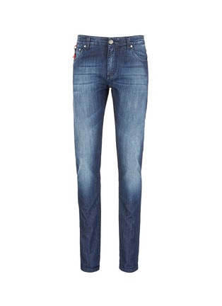 Main View - Click To Enlarge - ISAIA - Contrast paisley print cuff jeans