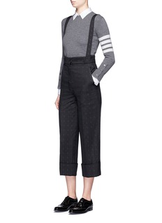 Thom Browne'Hector' embroidered suspender high waist pants