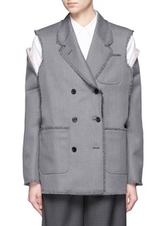 Thom Browne Cold shoulder double-breasted wool twill jacket