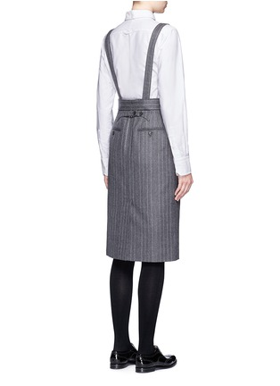 Back View - Click To Enlarge - Thom Browne - Denim patch stripe high waist suspender skirt