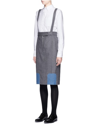 Front View - Click To Enlarge - Thom Browne - Denim patch stripe high waist suspender skirt