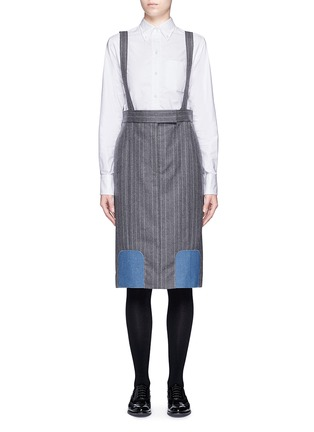 Main View - Click To Enlarge - Thom Browne - Denim patch stripe high waist suspender skirt