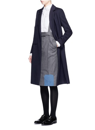 Figure View - Click To Enlarge - Thom Browne - Denim patch stripe high waist suspender skirt