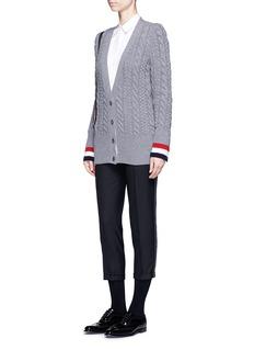 Thom BrowneHandbag pocket cable knit cardigan