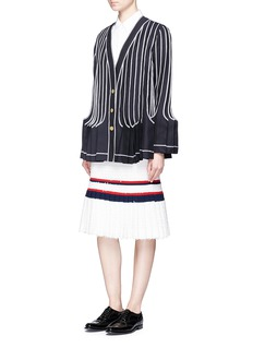 Thom Browne Pleated hem stripe eyelash tweed skirt