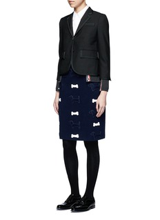 Thom BrowneHector and bone appliqué wool knit skirt