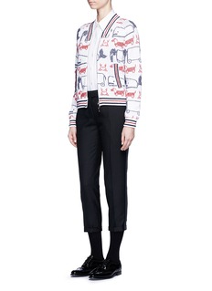 Thom Browne Hector and toy intarsia knit bomber jacket