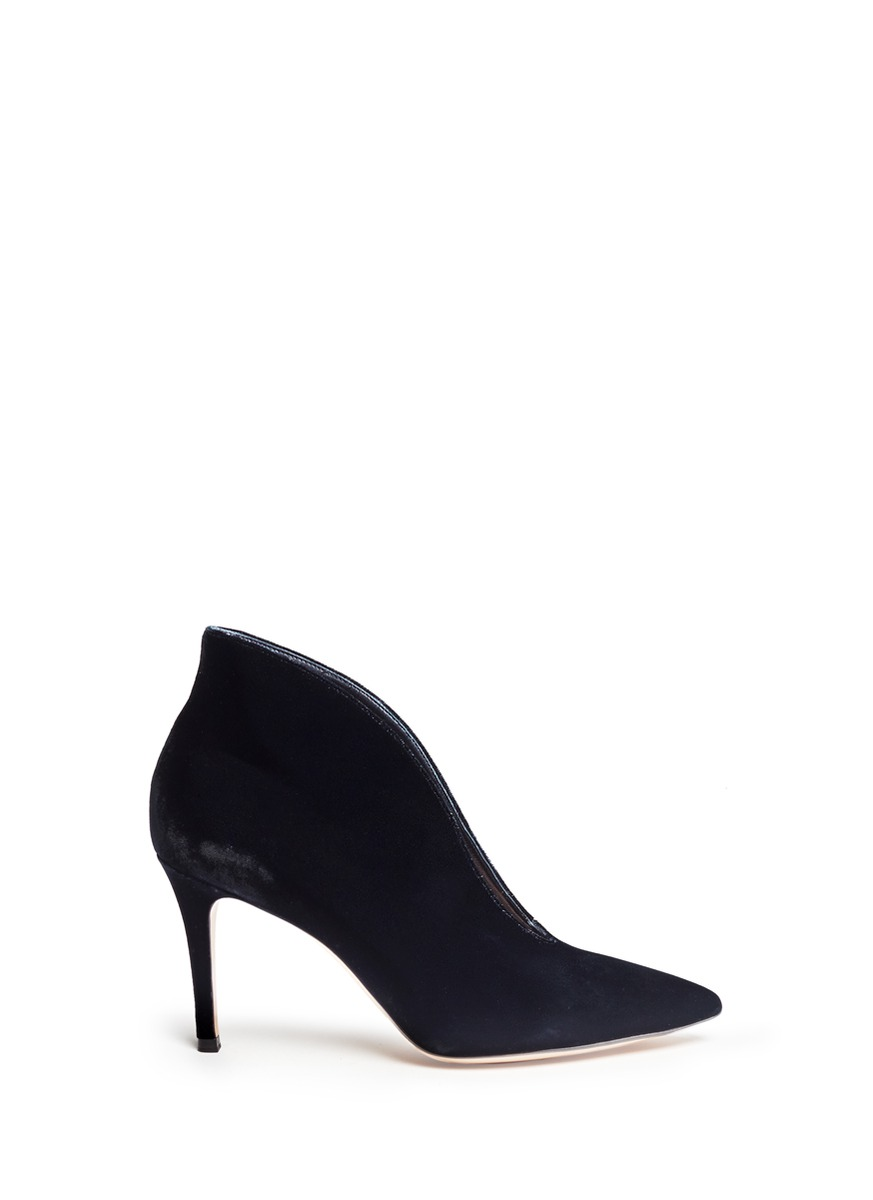 V-throat velvet booties by Gianvito Rossi