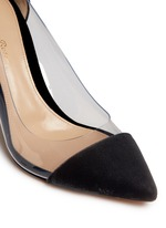 'Plexi' clear PVC velvet pumps