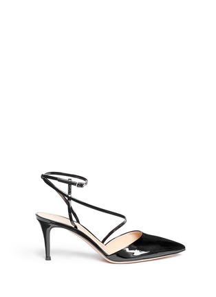 Main View - Click To Enlarge - Gianvito Rossi - 'Carlyle' strap patent leather pumps