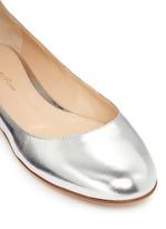 Metallic leather ankle strap ballerina flats